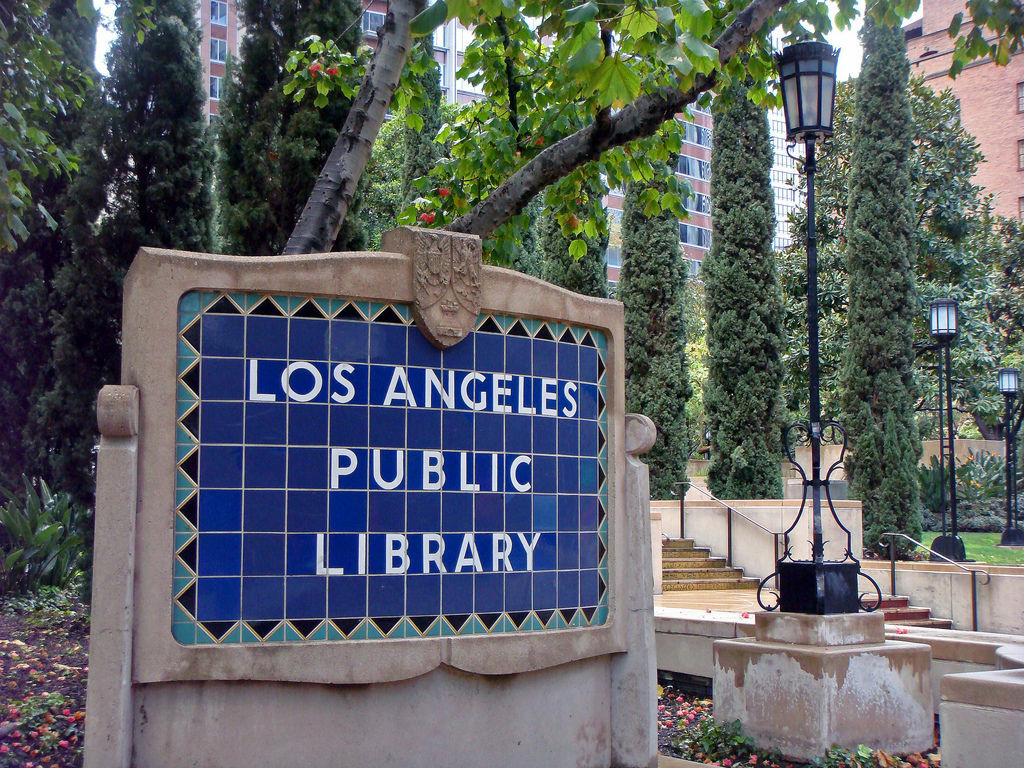 The Los Angeles Public Library sign at the Central Library on 5th Street, at the Flower Street entrance.