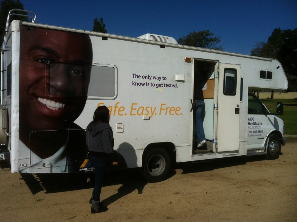 Health care organizers offered free HIV and STD testing Monday from a mobil van at Magic Johnson Recreation Area on east El Segundo in Los Angeles. The event was organized in recognition of the 20th anniversary of Johnson's announcement that he was HIV positive.