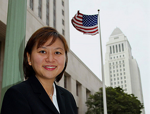 Judge Jacqueline Nguyen appears before Los Angeles City Hall.
