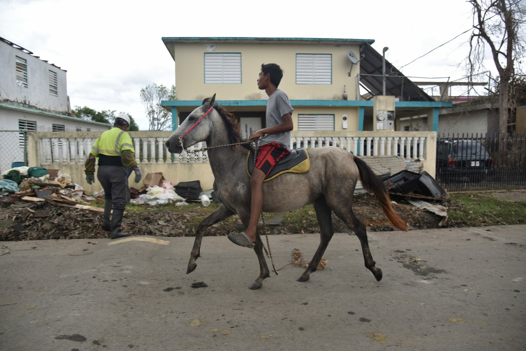 A boy rides a horse past municipal workers clearing debris and trash after Hurricane Maria hit Vega Baja, Puerto Rico, on September 30, 2017.