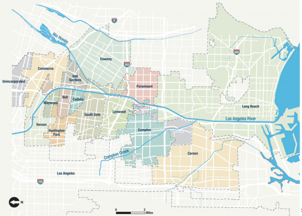 Map shows the lower L.A. River zone which expands a mile on either side of the river from Vernon to Long Beach.