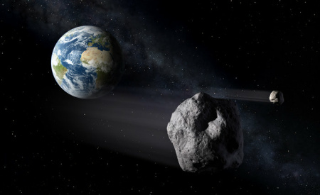An artist's rendering of an asteroid flying be close to Earth.