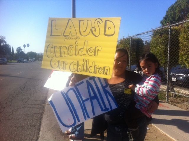 40 parents gathered in front of school board member Tamar Galatzan's field office in Lake Balboa, demanding Spanish and English speaking children stay in the same classroom.