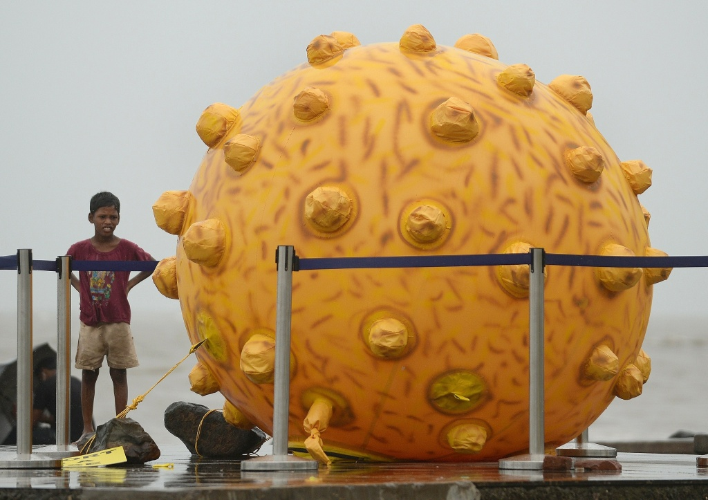 File: An Indian boy stands near a replica of the Hepatitis virus, a part of an awareness event in Mumbai on July 28, 2014.