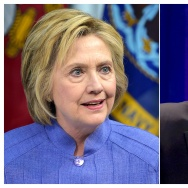 This combination of file photos shows Democratic presidential nominee Hillary Clinton (L) on June 15, 2016 and Republican presidential nominee Donald Trump on June 13, 2016.