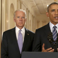 President Barack Obama, standing with Vice President Joe Biden, conducts a press conference  in the East Room of the White House in response to the Iran Nuclear Deal, on July 14, 2015 in Washington, DC.