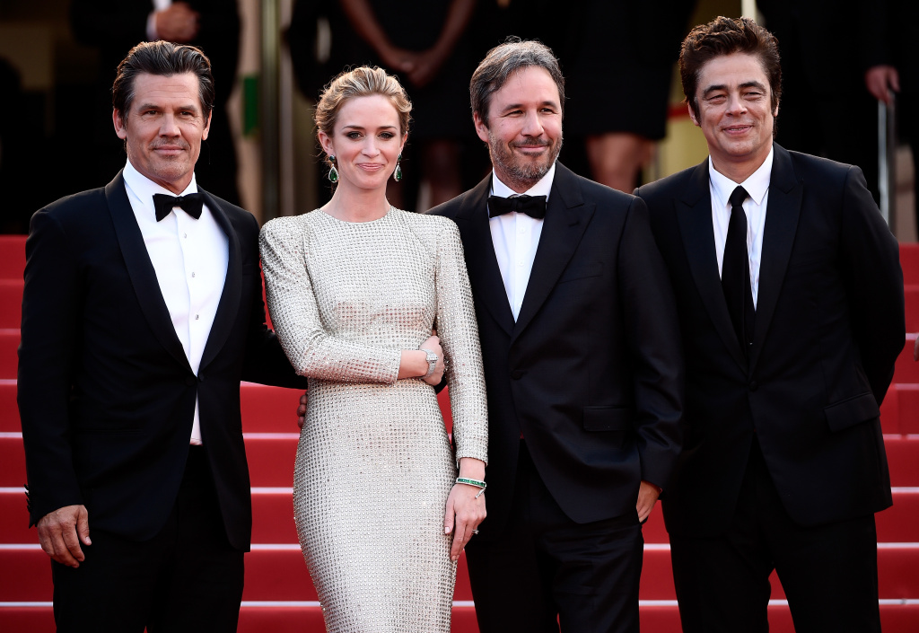 CANNES, FRANCE - MAY 19: Actors Josh Brolin and Emily Blunt, director Denis Villeneuve and actor Benicio Del Toro attend the 'Sicario' premiere during the 68th annual Cannes Film Festival on May 19, 2015 in Cannes, France.  (Photo by Ian Gavan/Getty Images)