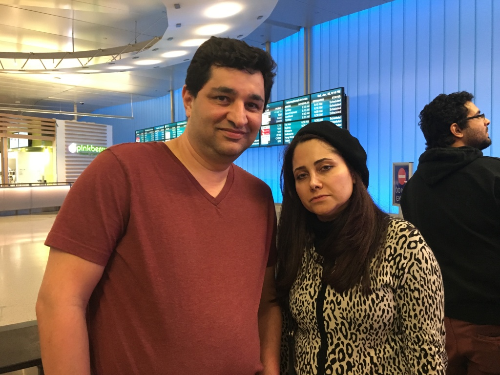 Fred Safe and Mojgan Rafiei wait for Rafiei's husband to arrive at the Tom Bradley International Terminal at LAX on Jan. 28, 2017. He was overdue after leaving Iran and may have been caught in the ban on entries from Muslim-majority countries imposed under President Trump's executive order.