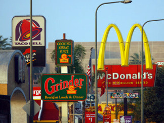 Fast food chains line Figueroa Street in South Los Angeles