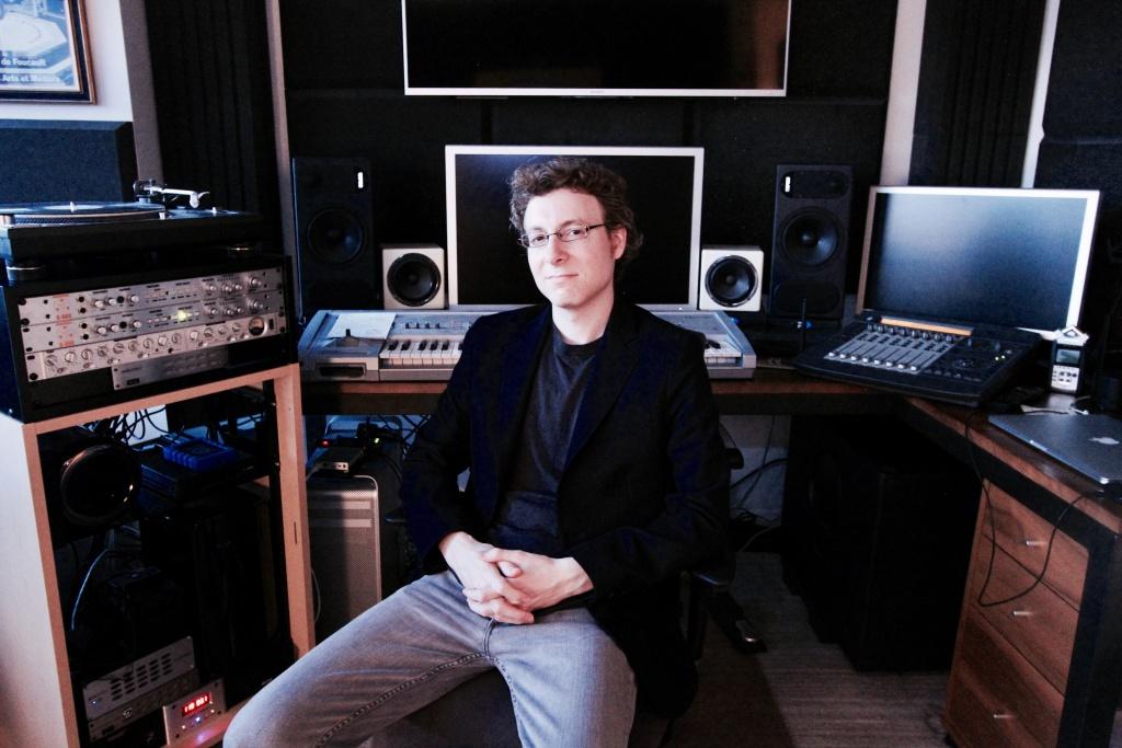 Composer Nicholas Britell in his studio.