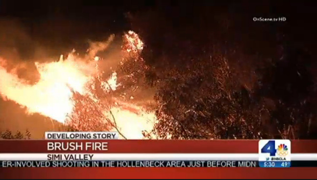 A Simi Valley fire was reported shortly before 10:30 p.m. Wednesday near State Route 118 in the Santa Susana Pass northwest of Los Angeles.