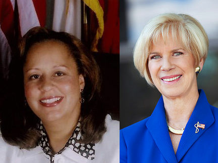Reps. Laura Richardson, left, and Janice Hahn, right, face each other in the race for Congress' 44th District.