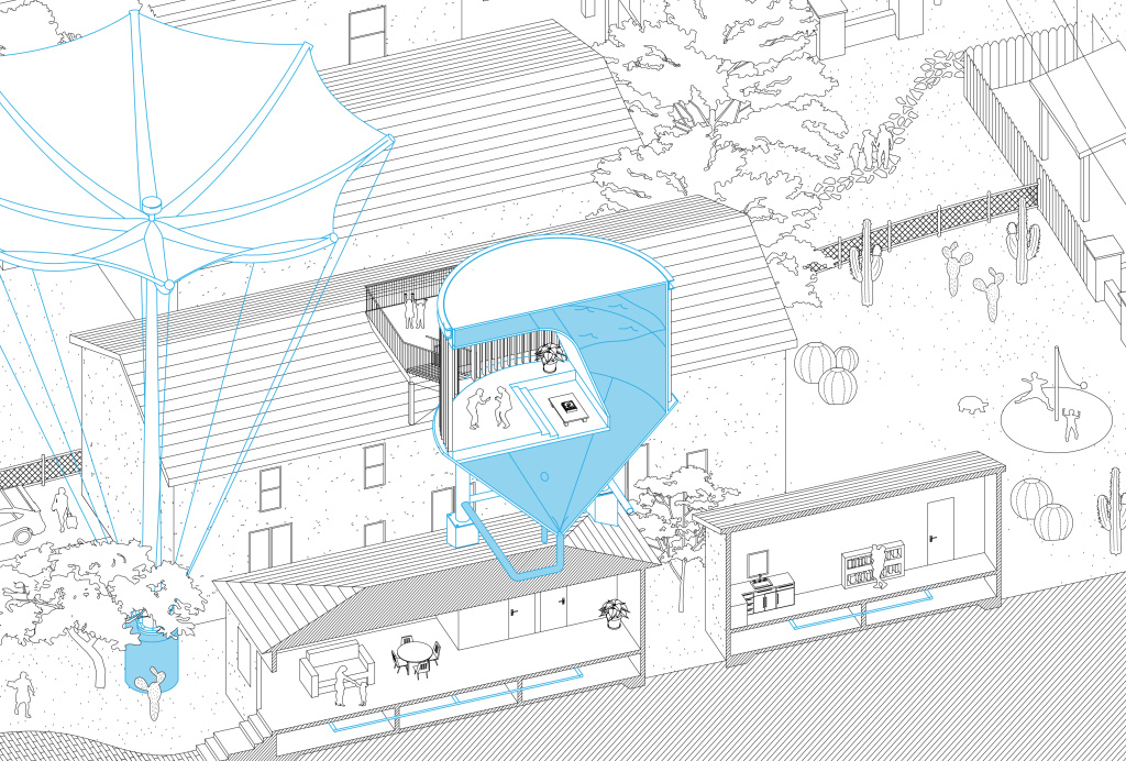 An architectural rendering shows a home of the future retrofitted with a storm-water capture system and an on-site water tower.