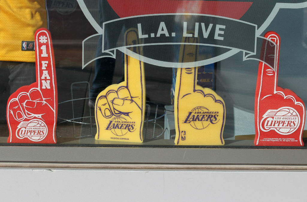Merchadise for both the Lakers and Clippers on display at L.A. Live across the street from Staples Center between a Los Angeles Clippers game agaisnt the Detroit Pistons and a game between the Utah Jazz the Los Angeles Lakers on March 18, 2012 in Los Angeles, California.