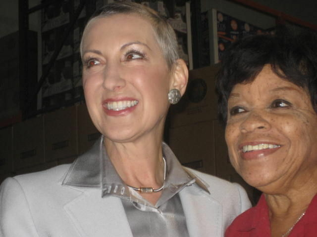 Carly Fiorina poses with Martha House of the California Federation of Republican Women at Fiorina's official announcement that she seeks to unseat U.S. Senator Barbara Boxer.