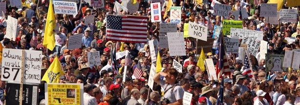 People rally in opposition to government reform of health care in Washington, DC, on March 20, 2010. The 'Kill the Bill' rally comes on the eve of a vote on health reform by US lawmakers.