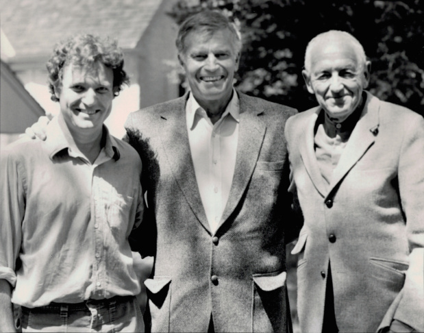 Charlton Heston, center, became friends with painter Andrew Wyeth (right), whose work the actor collected. (At left is Wyeth's son, Jamie.)