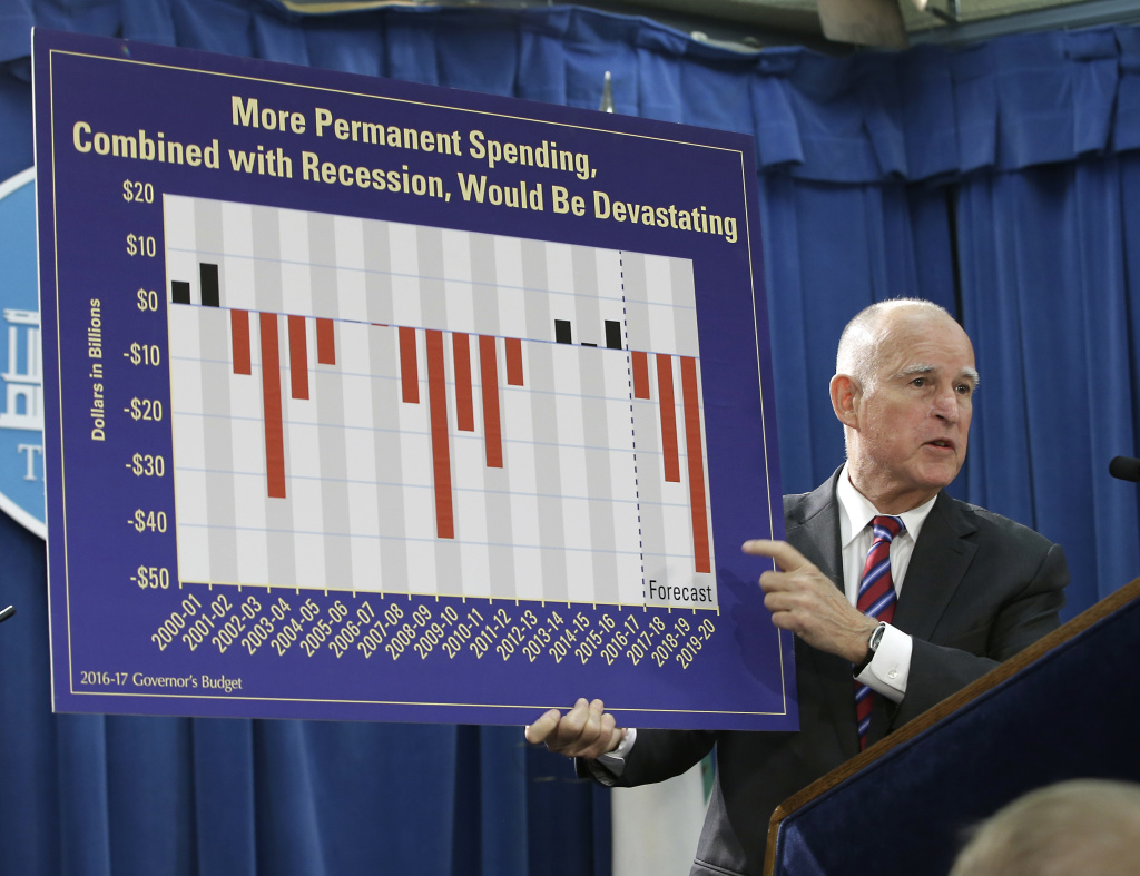 Gov. Jerry Brown holds a chart as he discusses his proposed 2016-17 state budget at a news conference in Sacramento on Jan. 7, 2016.