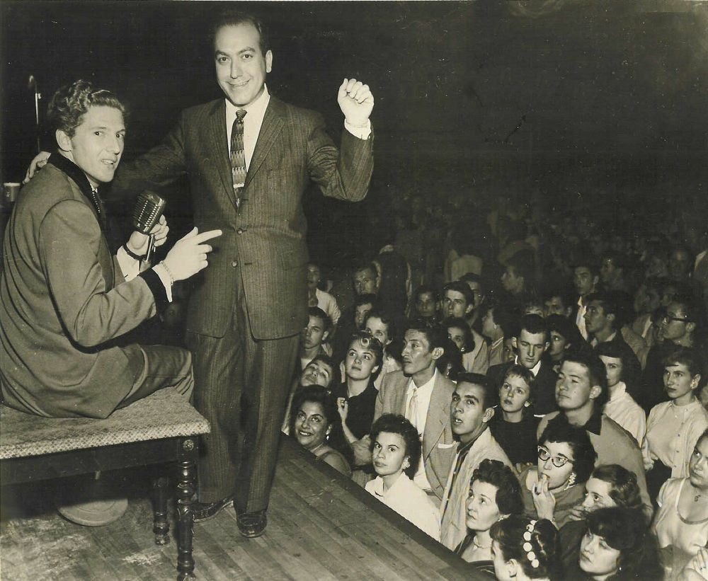 """Art Laboe, right, with Jerry Lee Lewis. Laboe is known for creating """"Oldies But Goodies"""" compilations, the first albums to feature hits by a variety of artists."""