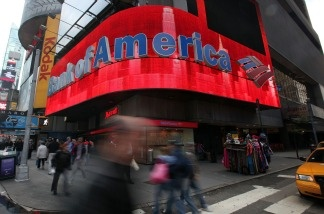 A Bank of America branch is seen in Times Square in New York City.