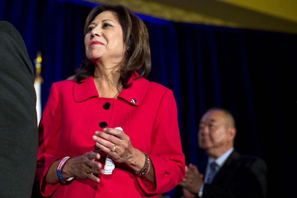Supervisor-elect Hilda Solis attends an election party for newly elected Los Angeles County Sheriff Jim McDonnell on Tuesday night, Nov. 4, 2014 at the JW Marriott at LA Live.
