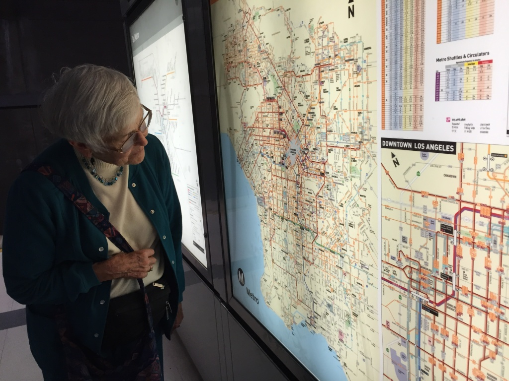 Grace Moremen, 85, checks the subway map at a Metro Red Line station in downtown L.A.