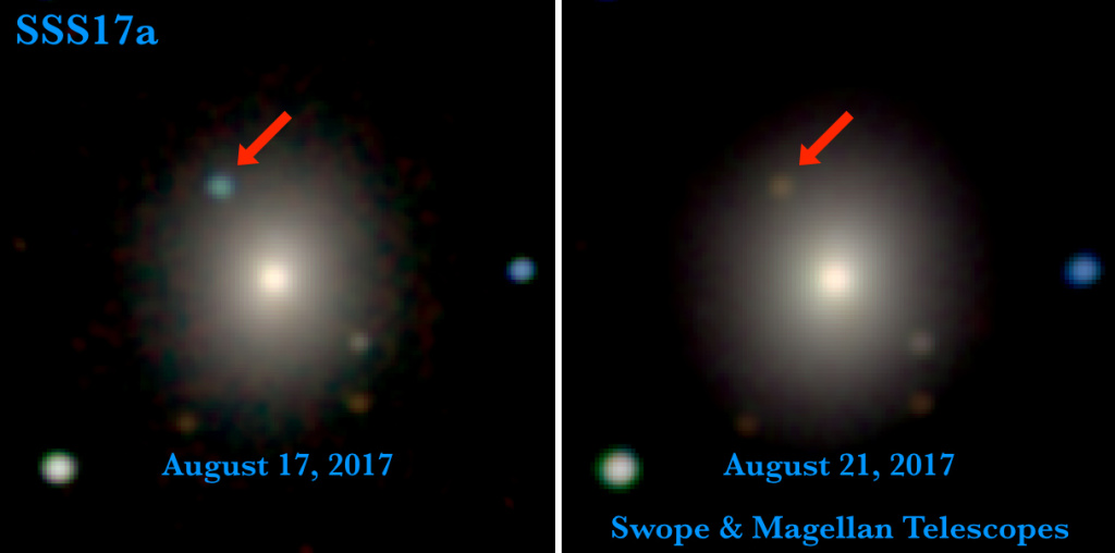 Swope and Magellan telescope optical and near-infrared images of the first optical counterpart to a gravitational-wave source, SSS17a, in its galaxy, NGC 4993. The left image is from August 17, 2017, 11 hours after the LIGO-Virgo detection of the gravitational-wave source, and contains the first optical photons from the source. The right image is from four days later, when SSS17a—the aftermath of a neutron star merger—faded significantly and its color became much redder.