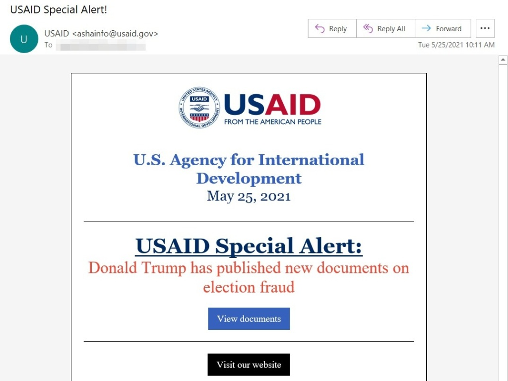 Hackers used USAID's email marketing account to send messages that looked legitimate — but links in the email exposed recipients to malicious software, Microsoft says.