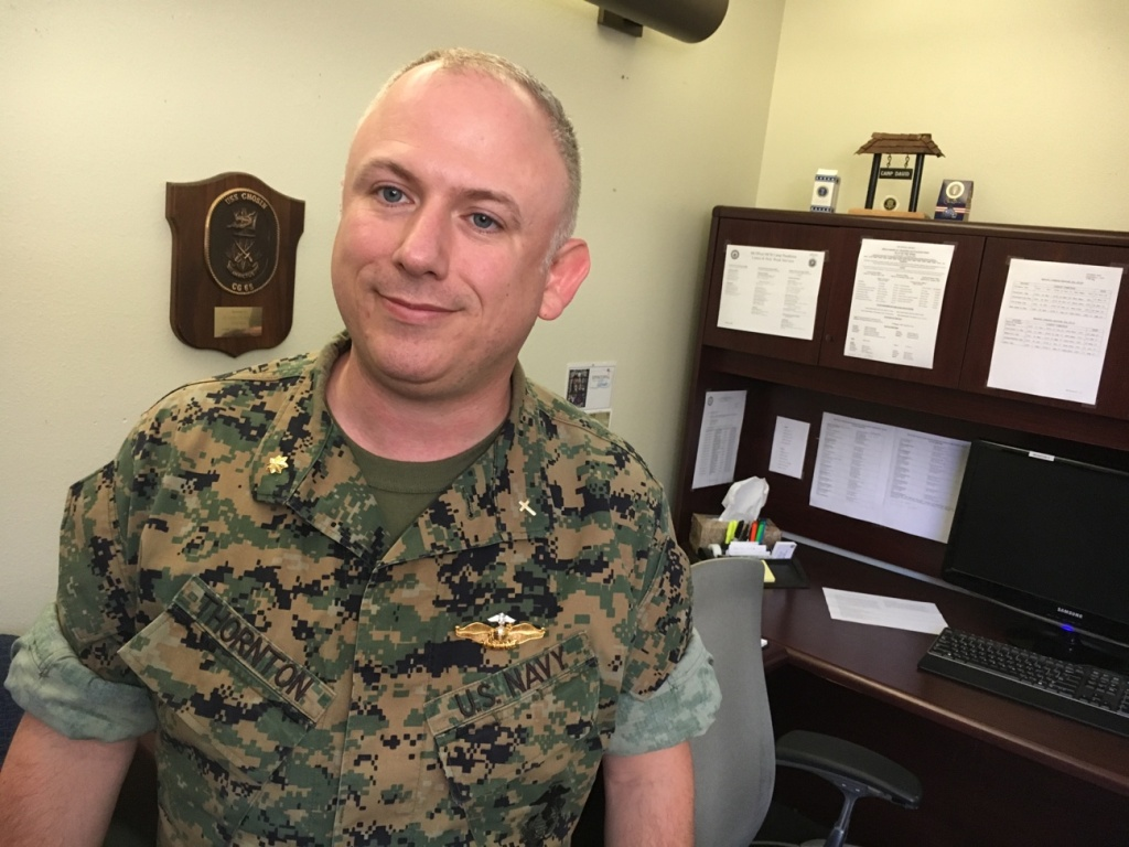 Lt. Commander Corey Thornton is the Chaplain at the Camp Pendleton Marine Base and helps facilitate the church groups that run the on-base food pantries for military families.