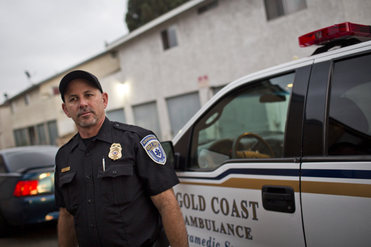 Supervisor Jeff Shultz of Gold Coast Ambulance brings medication to a tuberculosis patient in Oxnard, Calif. on Monday evening, Sept. 21, 2015. The visit is part of a pilot project in Ventura County using paramedics to make house calls to tuberculosis patients instead of county public health staffers.