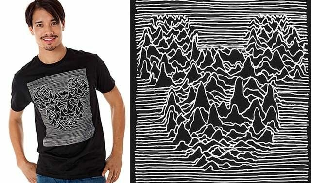 Disney is now selling a shirt that borrows the design from the Joy Division album, Unknown Pleasures. The image, taken from an encyclopedia by the band, is in the public domain.