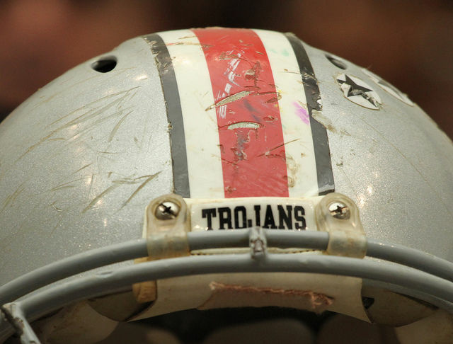 Football helmet of the late Owen Thomas, a former University of Pennsylvania football player, brought to a recent Congressional hearing related to sports injuries.