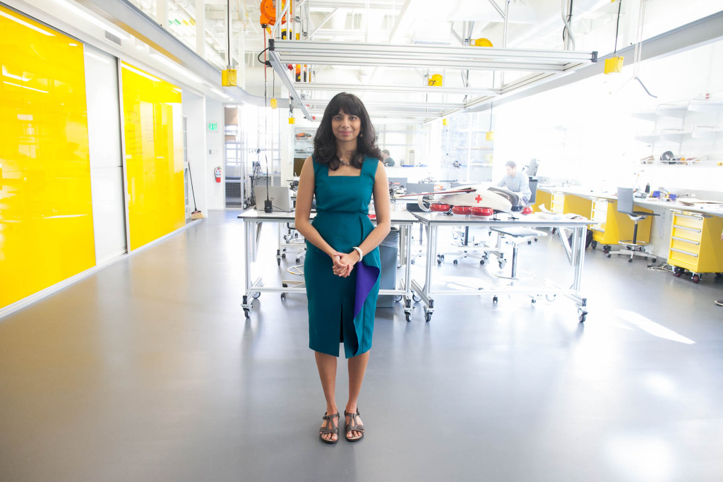 Anima Anandkumar photographed at Caltech's Center for Autonomous Systems and Technologies (CAST) including the Aerodrome, Assembly room and advanced mobility lab.