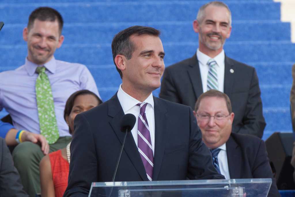 Eric Garcetti delivers his speech at his mayoral inauguration ceremony on June 30th, 2013. He is the 42nd mayor of Los Angeles.
