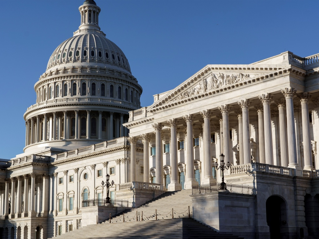 The Senate side of the Capitol is seen in Washington, D.C., early Monday.