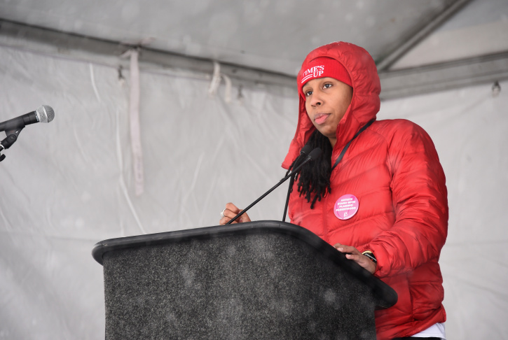 Lena Waithe speaks onstage at the Respect Rally in Park City on January 20th, 2018 in Park City, Utah.