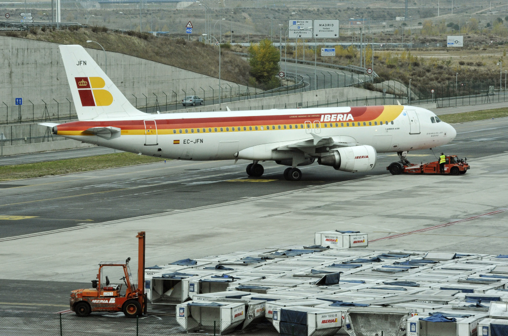 A plane of the Spanish Iberia carrier arrives at the terminal 4 of Madrid Barajas airport.