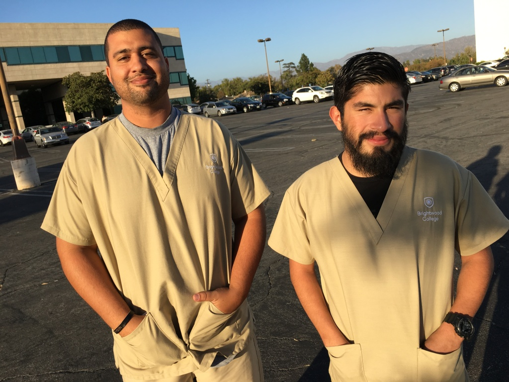 Joshua Ziegler, left, and Nick Alvarez are radiology students at Brightwood College in North Hollywood. They're keeping a close eye on loss of authority of the agency that accredits their school.