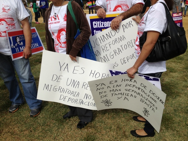 Several hundred people turned out by Tuesday afternoon for an immigration reform rally on the National Mall.