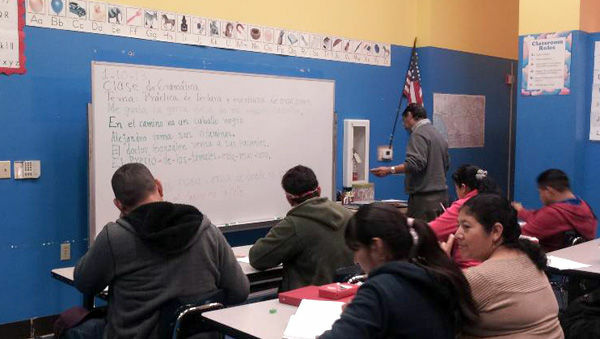 At the Centro Latino for Literacy in Los Angeles, students first learn to to read and write in Spanish before they begin English lessons.