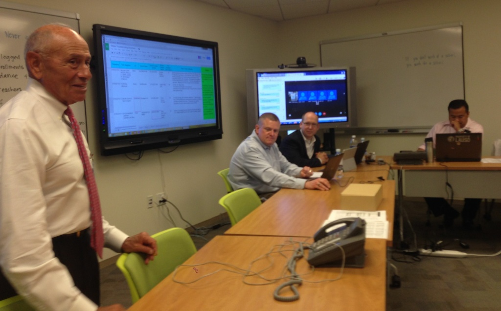 Los Angeles Unified Superintendent Ramon Cortines visits the control center for the district's student data system on Tuesday, Aug. 18, 2015. Officials said few problems were reported with the MiSiS system, in contrast to last year's experience.