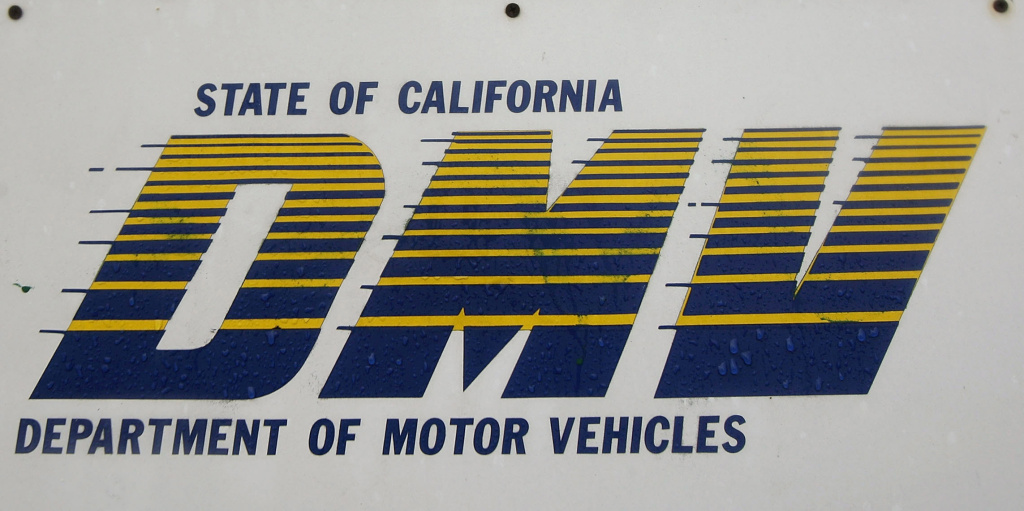 DMV signage at the California Department of Motor Vehicles in Pasadena, California.