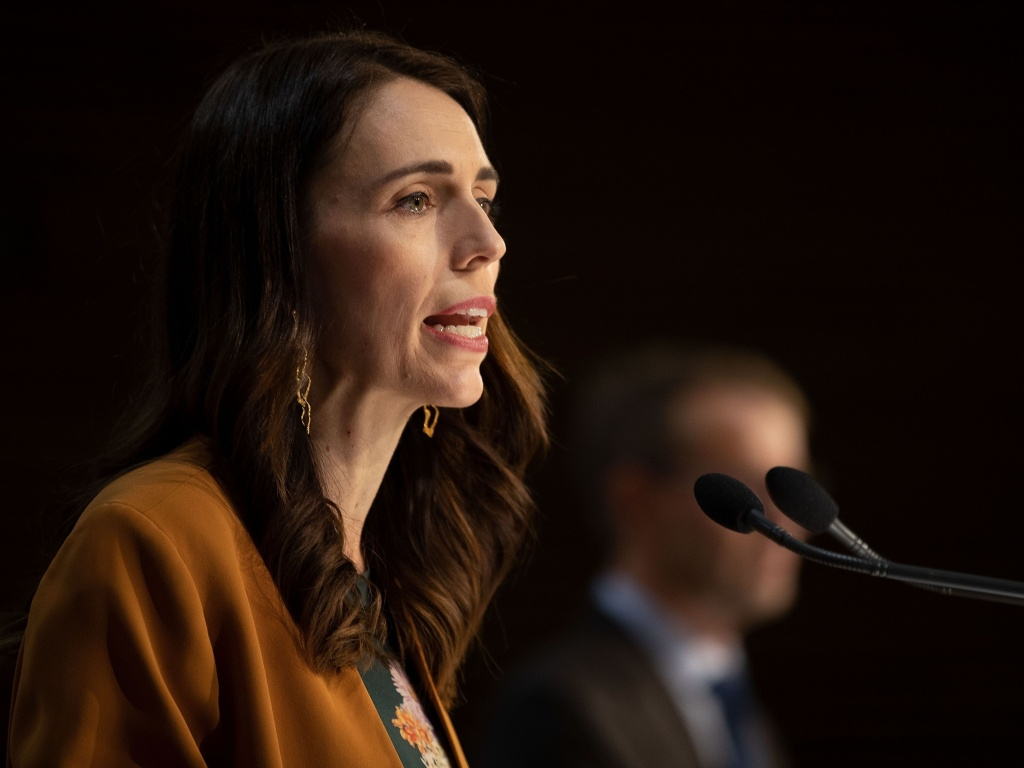 New Zealand Prime Minister Jacinda Ardern during a news conference about COVID-19 at Parliament in Wellington on Monday.