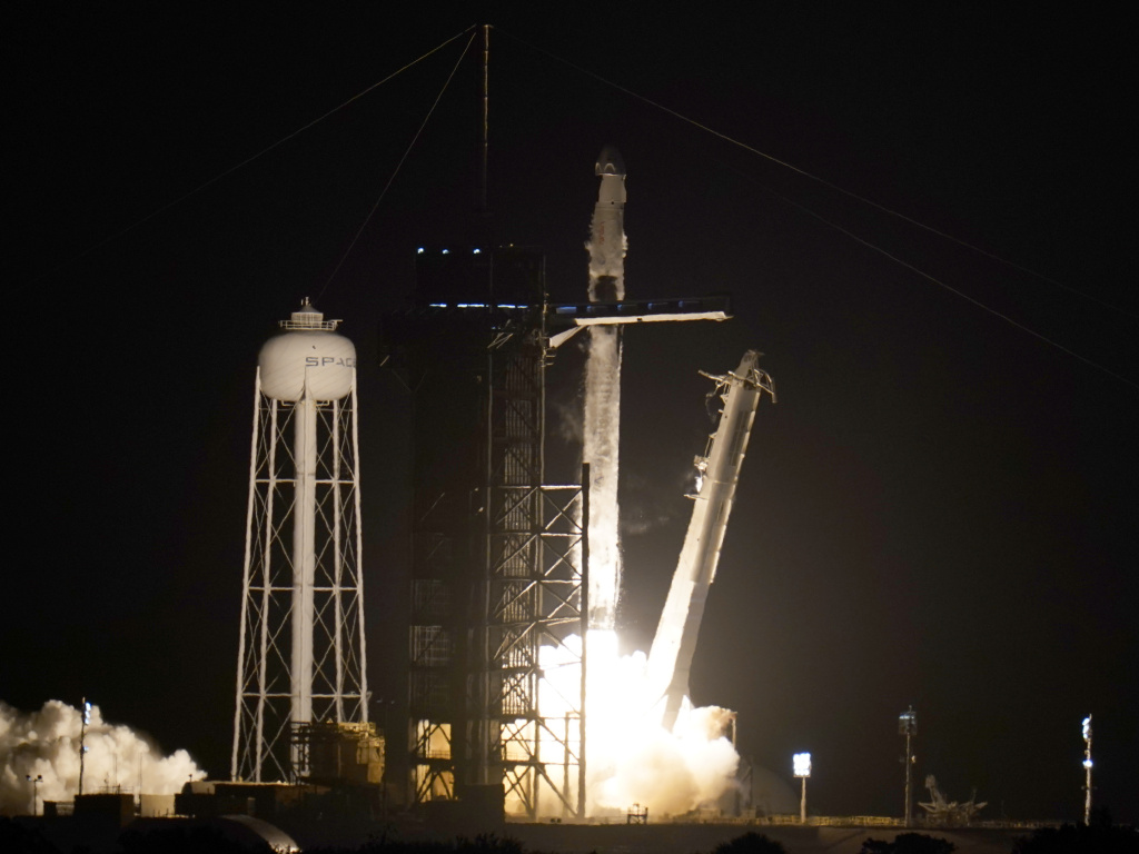 A SpaceX Falcon 9 rocket with the Crew Dragon space capsule lifts off from pad 39A at the Kennedy Space Center in Cape Canaveral, Fla., Friday, April 23, 2021.