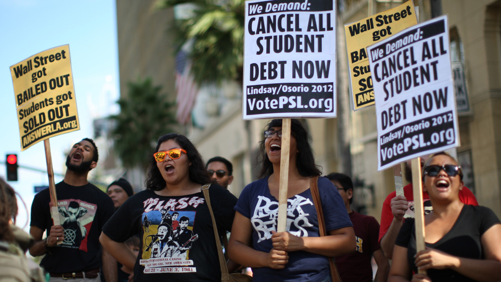 Students protest the rising costs of college loans in Los Angeles in 2012.