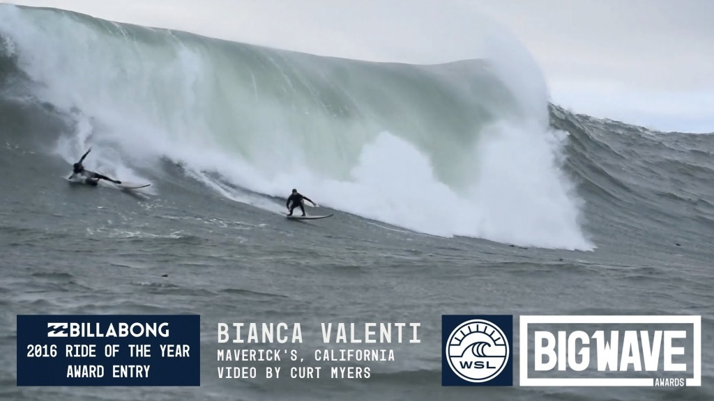 Bianca Valenti (San Francisco, California, USA) takes on the wind, the weather and the crowds with ease at Maverick's, California on October 28, 2015.  Video by Curt Myers/Powerlines Productions. An entry in the Billabong Ride of the Year category of the 2016 WSL Big Wave Awards. For more information see www.WorldSurfLeague.com/bigwave.
