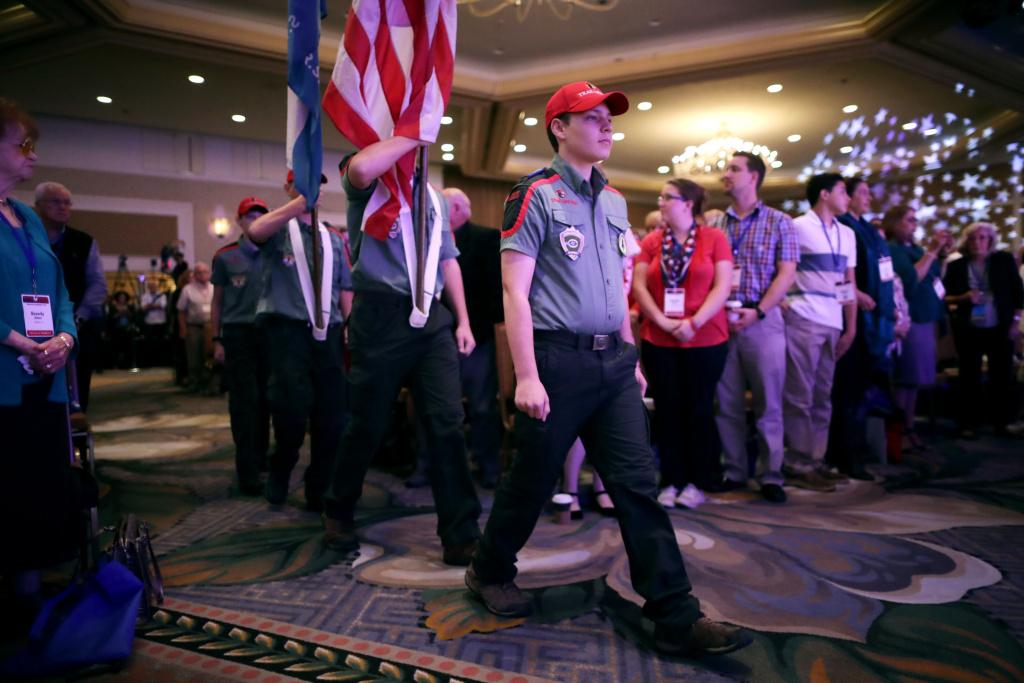 Uniformed members of Trail Life USA present the colors during the opening ceremony for the Family Research Council's Value Voters Summit at the Omni Shoreham Hotel September 21, 2018 in Washington, DC.