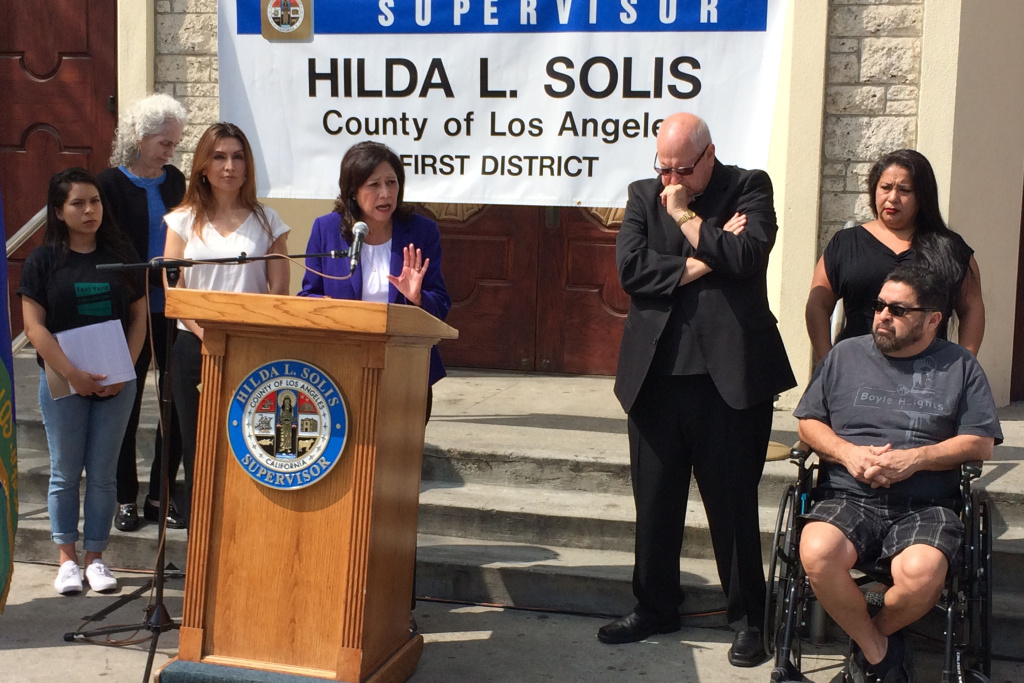 L.A. County Supervisor Hilda Solis speaks in Boyle Heights on June 30, 2017 about the results of a community outreach survey on contamination from the former Exide Technologies battery recycling facility in Vernon.