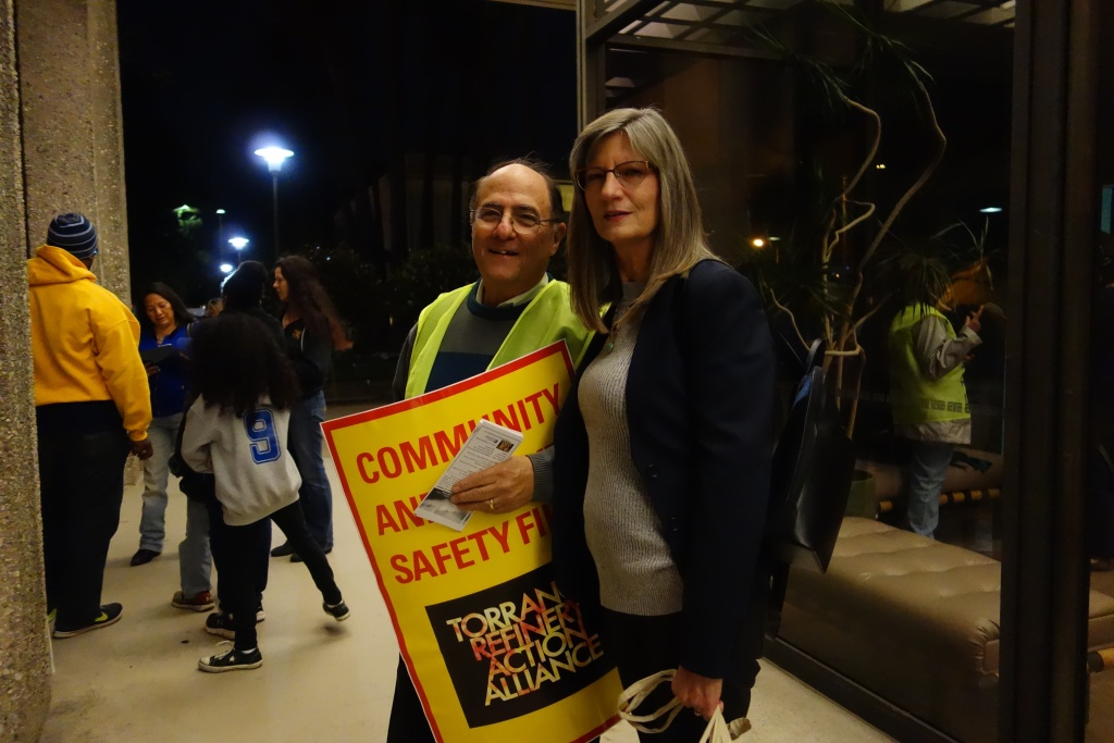 Steven Goldsmith and Sally Hayati outside a Feb. 28, 2017 Torrance City Council meeting at which they called on the city and Torrance Refinery to bar use of a dangerous chemical