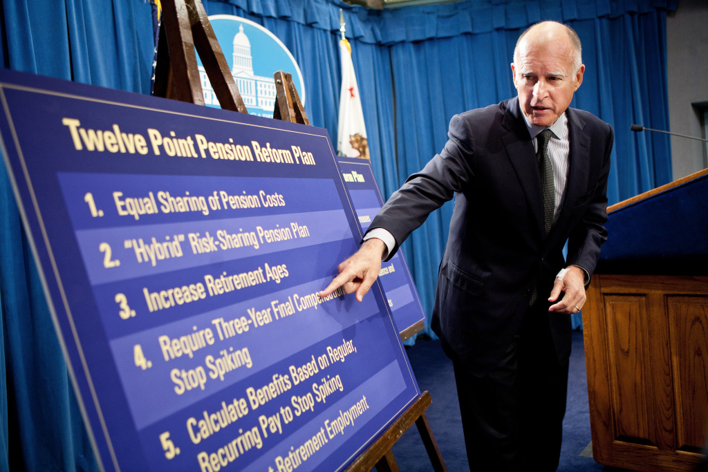 California Governor Jerry Brown announces his public employee pension reform plan October 27, 2011 at the State Capitol in Sacramento, California.  Gov. Brown proposed 12 major reforms for state and local pension systems that he claims would end abuses and reduce taypayer costs by billions of dollars.